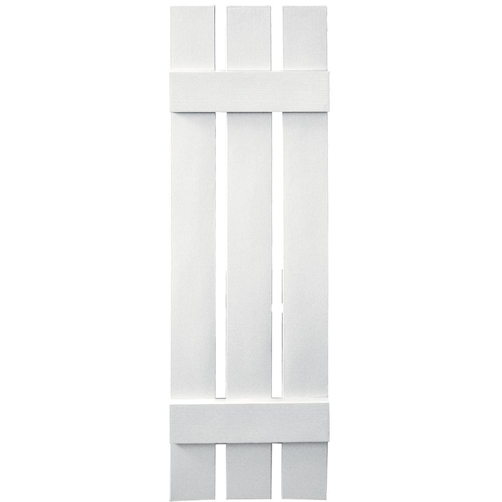 Builders Edge 12 in. x 43 in. Board-N-Batten Shutters Pair, 3 Boards Spaced #117 Bright White