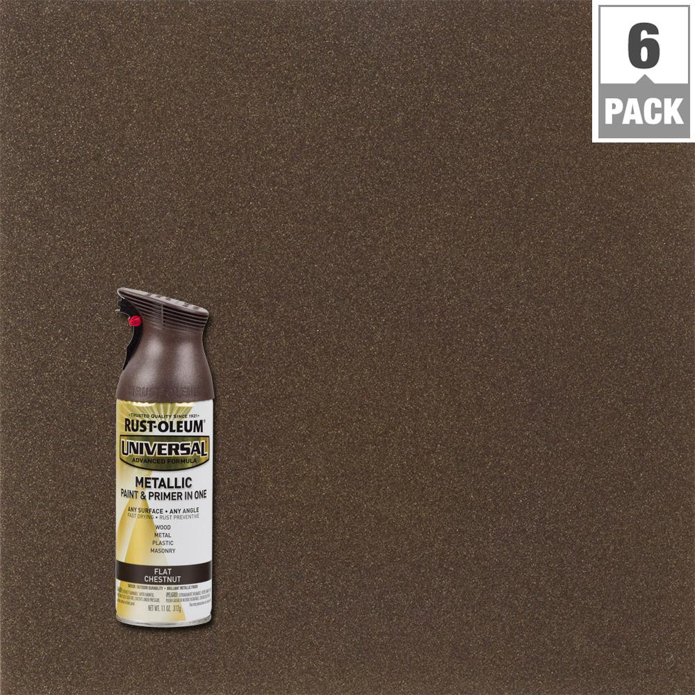Rust Oleum Universal 11 Oz All Surface Flat Metallic Chestnut Spray Paint And Primer In 1 6