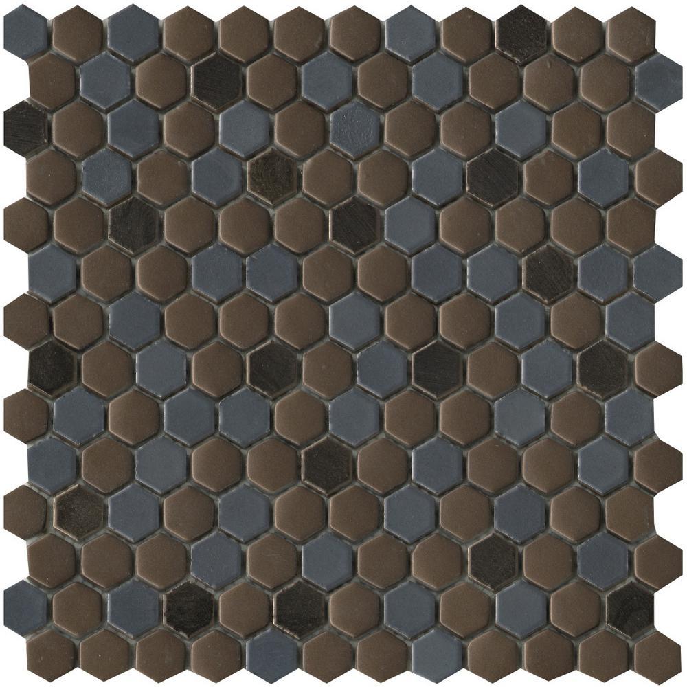 1 Sheet//1 SQFT 1 Hexagon Glass Mosaic Tile Hydra