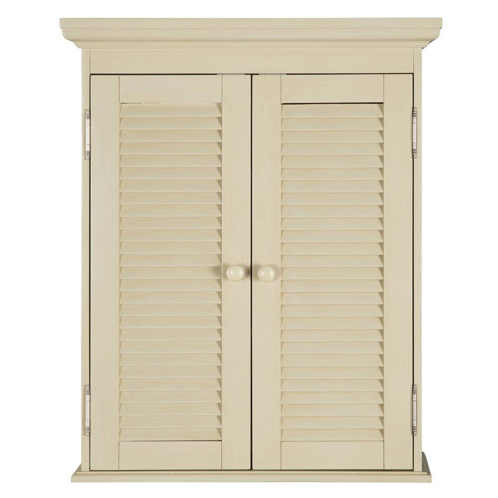 W Bathroom Storage Wall Cabinet In Antique White