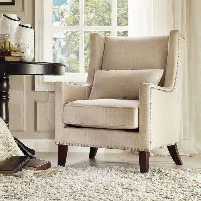 Ashley Oatmeal Linen Wing Back Arm Chair