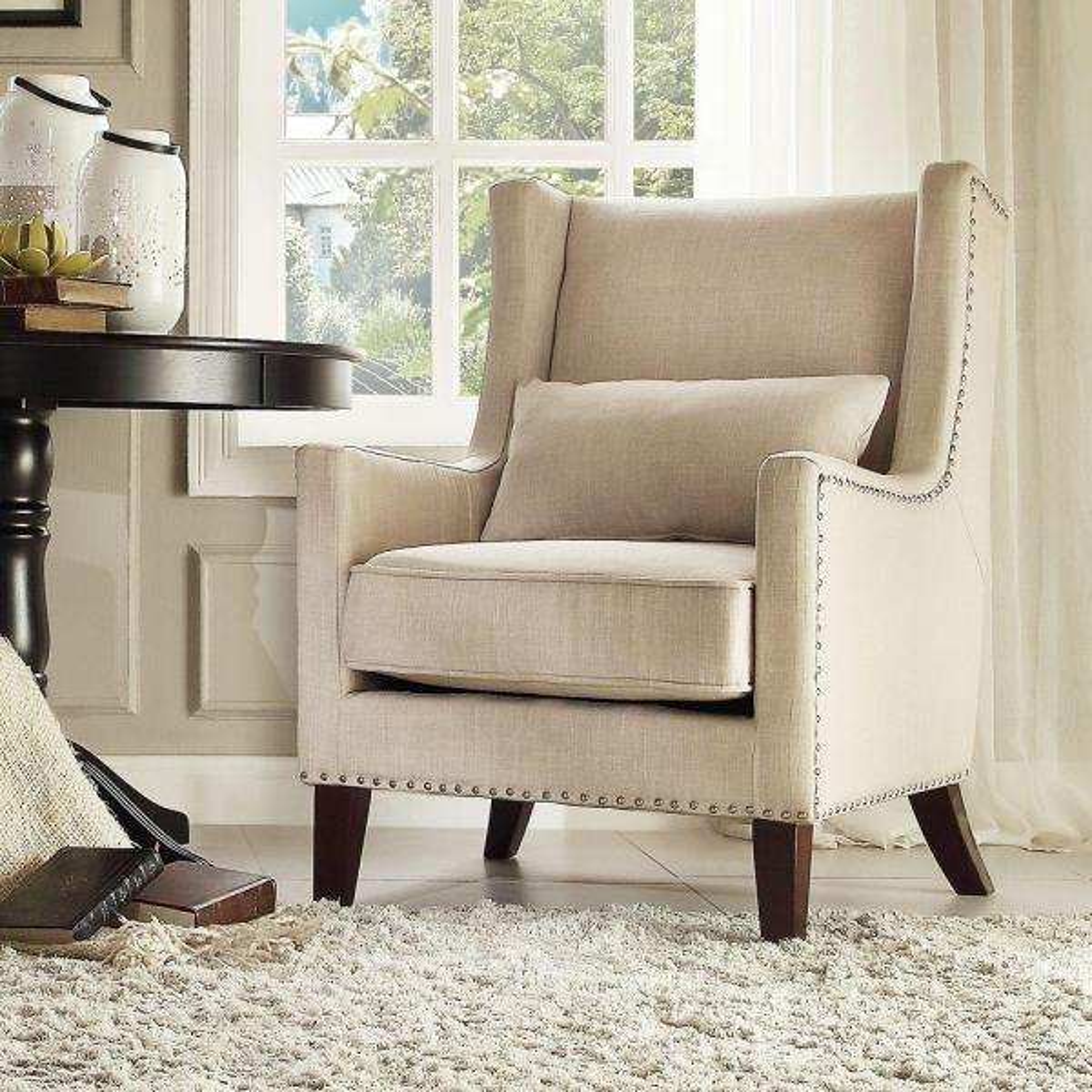 HomeSullivan Ashley Oatmeal Linen Wing Back Arm Chair