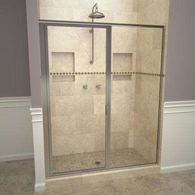 1100 Series 59 in. W x 68-5/8 in. H Framed Swing Shower Door in Polished Chrome with Pull Handle and Clear Glass