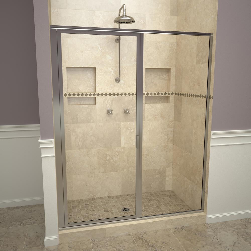 Redi Swing 1100 Series 59 In W X 72 1 8 H Framed Shower Door Polished Chrome With Pull Handle And Clear Gl