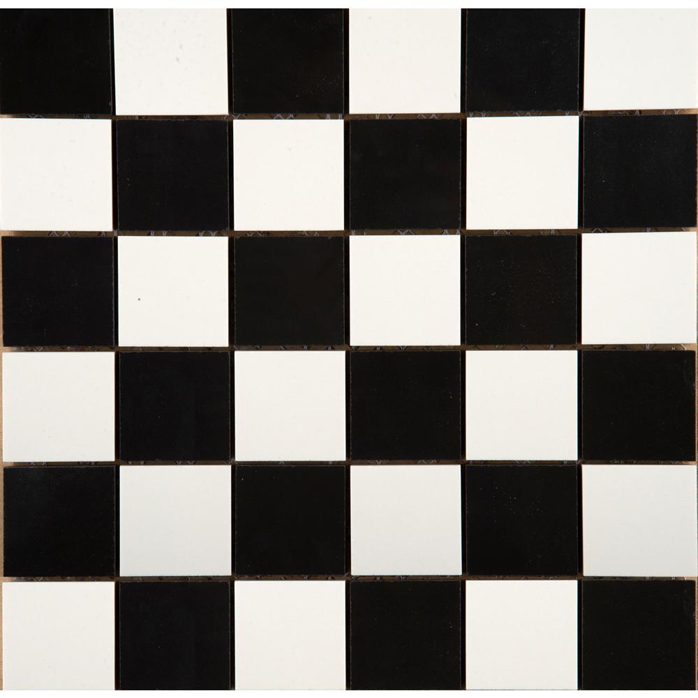 Emser Times Square Black White Checker Blend Polished 12