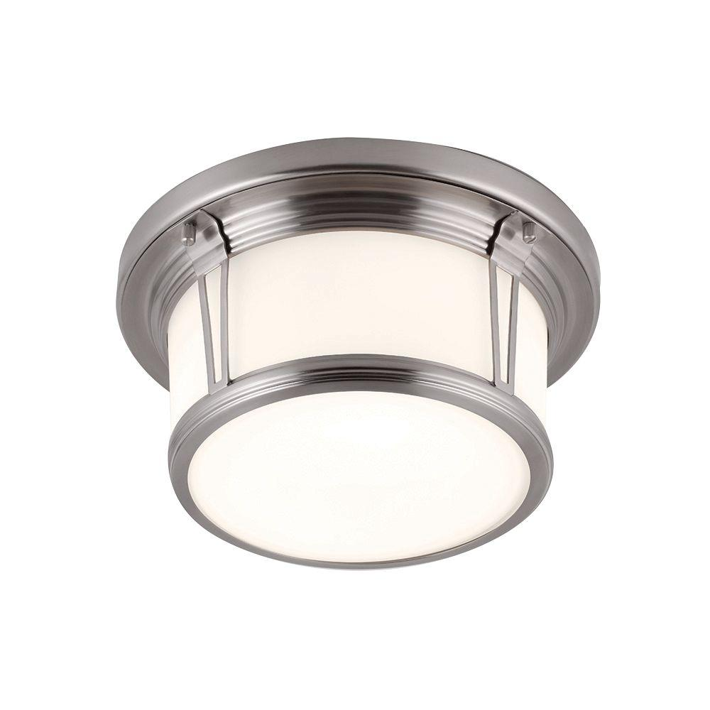 Feiss Woodward 2-Light Brushed Steel Flushmount