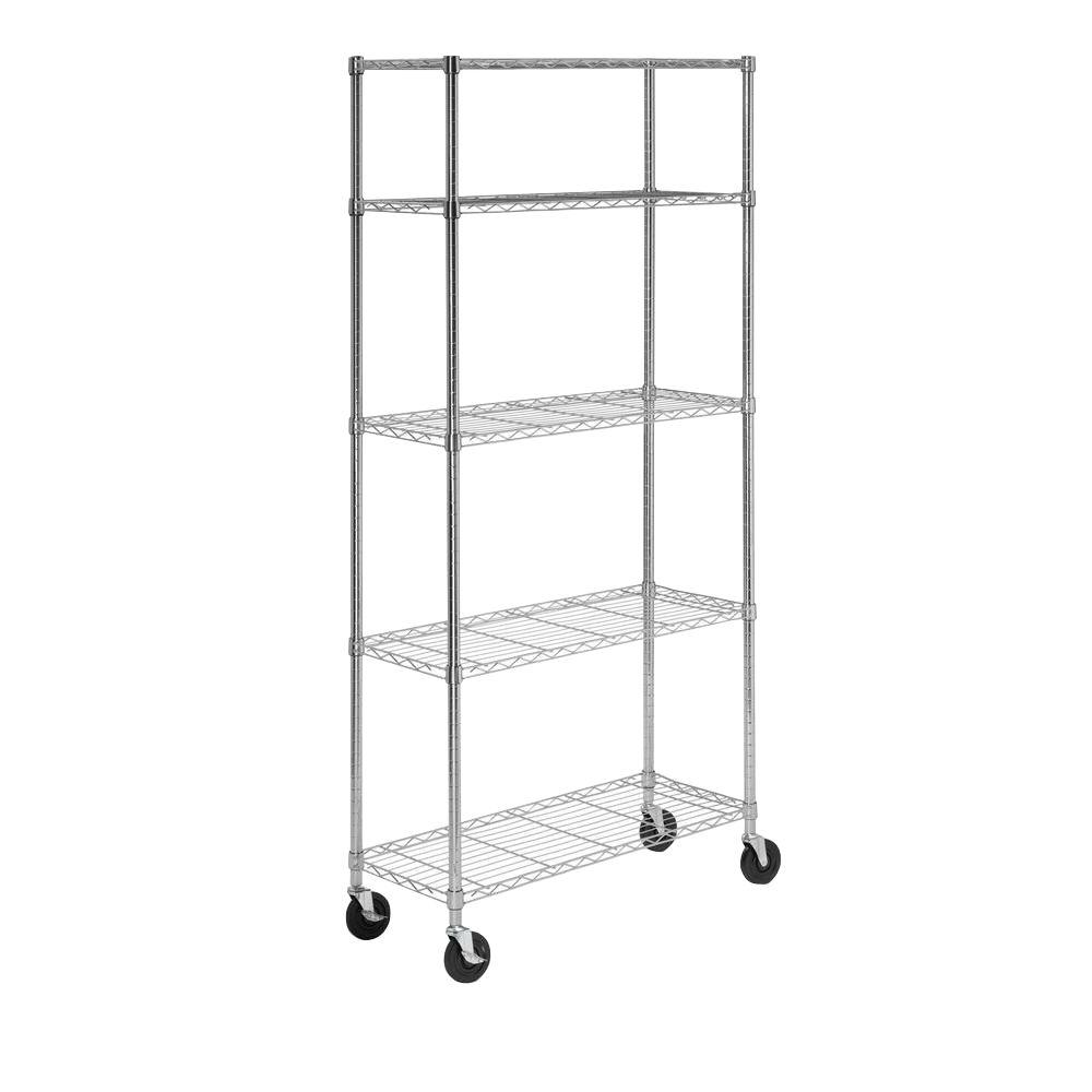 Honey-Can-Do 14 in. L x 36 in. W x 72 in. H 5-Tier Chrome Shelving Unit with Casters