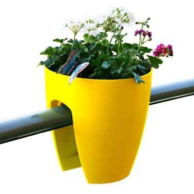 11.4 in. x 11.8 in. x 11.4 in. Yellow Plastic Railing and Deck Planter (2 pack)