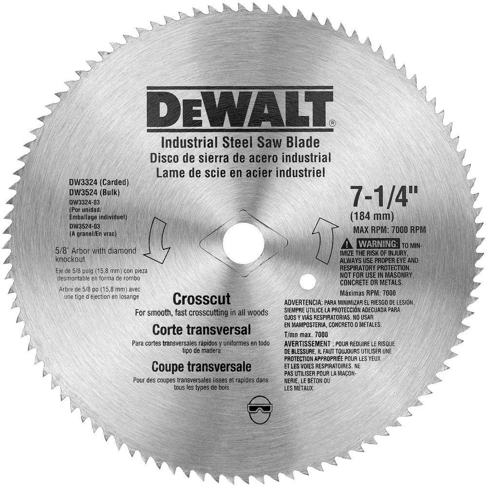 Dewalt 7 14 in 100 teeth steel crosscut saw blade dw3324 the 100 teeth steel crosscut saw blade dw3324 the home depot greentooth Image collections
