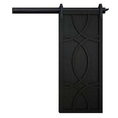 42 in. x 84 in. Hollywood Midnight Wood Barn Door with Sliding Door Hardware Kit