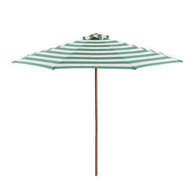 9 ft. Wood Market Patio Umbrella in Soft Teal and Ivory Stripe Solution Dyed Polyester