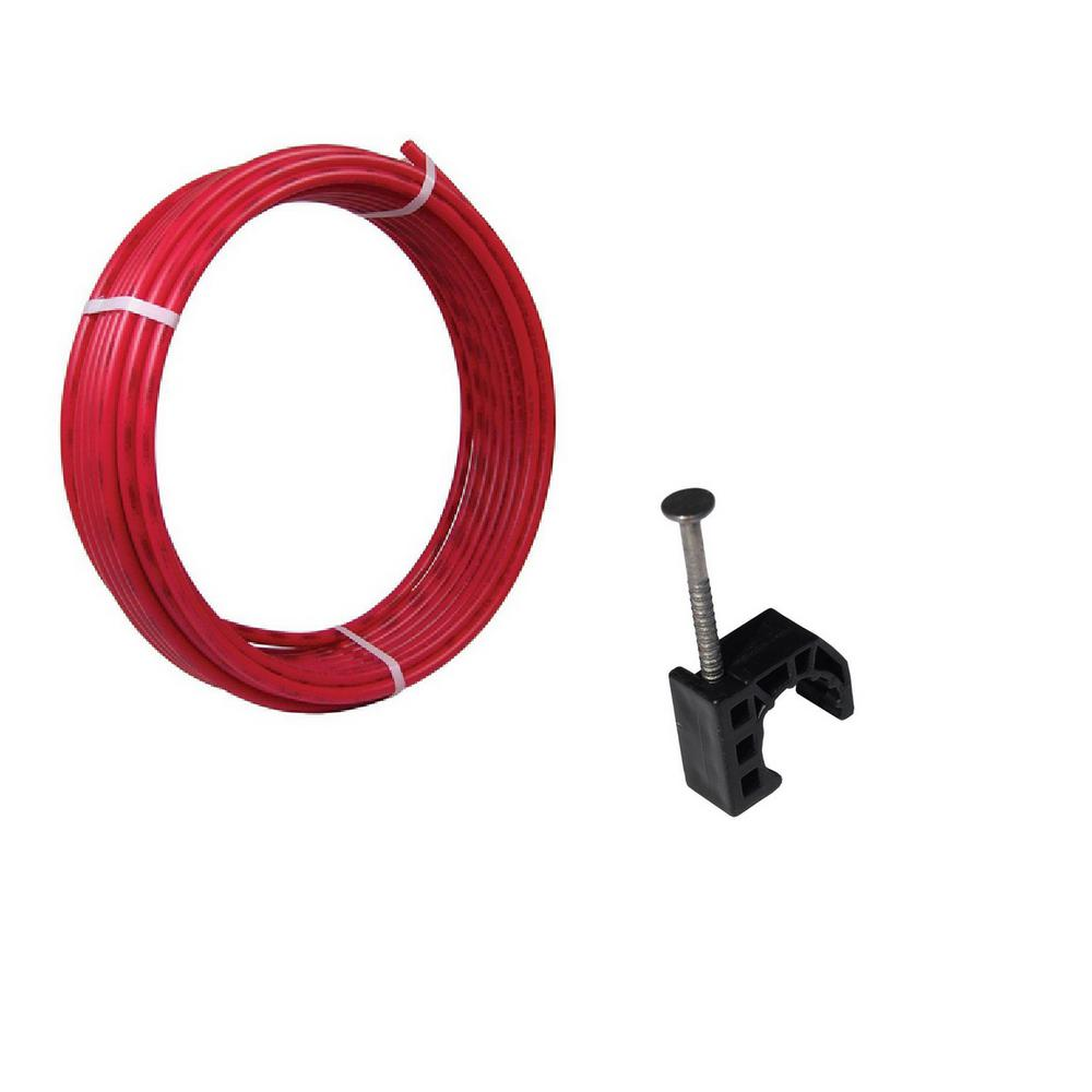 SharkBite 1/2 in. x 100 ft. Coil Red PEx Pipe and 10-Pack Talon Clamps