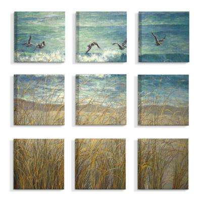 "12 in. x 12 in. ""Beach Dunes And Gulls Blue and Green Ocean Painting"" by Laurie Snow Canvas Wall Art (9-Piece)"