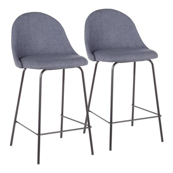 Lana 25 in. Blue Fabric and Black Metal Counter Stool (Set of 2)