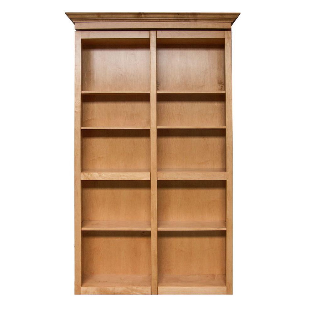 InvisiDoor 60 in. x 84 in. Unfinished Cherry 6-Shelf Bookcase Bi-Fold Door