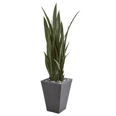 Indoor 57 Sansevieria Artificial Plant in Slate Planter