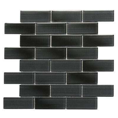 Mardi Gras Claiborne 12 in. x 12 in. x 6.35 mm Black Glass Mesh-Mounted Mosaic Wall Tile (10 sq. ft. / case)