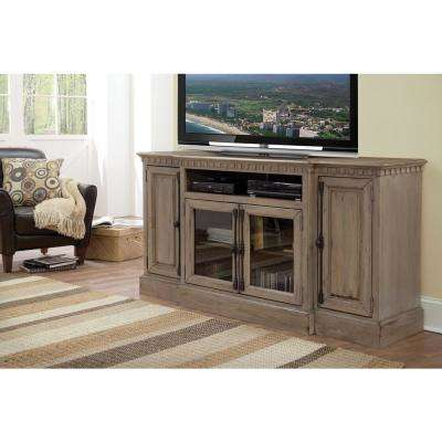 Andover Court 68 in. Antique Mist Wood TV Stand Fits TVs Up to 75 in. with Storage Doors