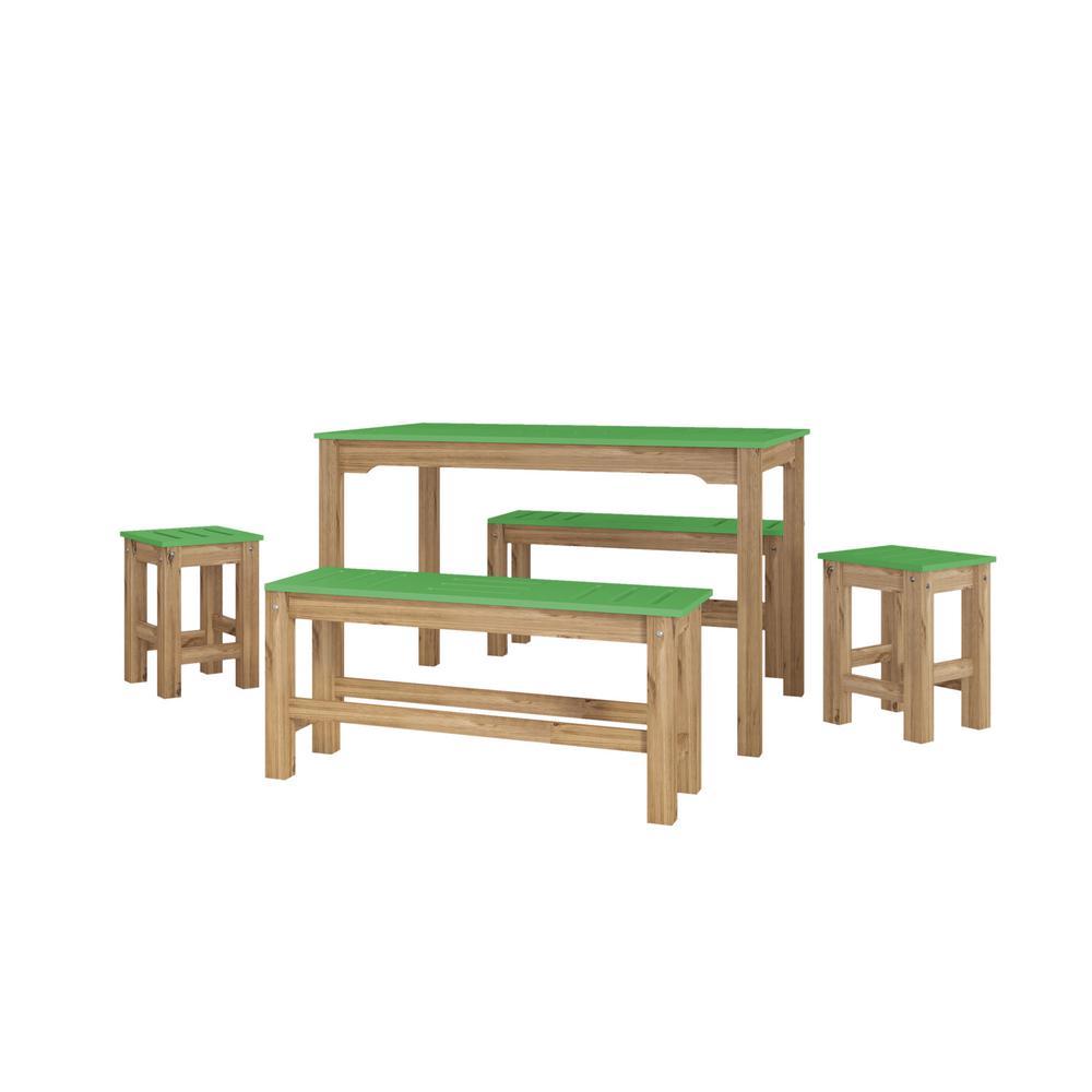 Manhattan Comfort Jay 7-Piece Green Wash Solid Wood Dining
