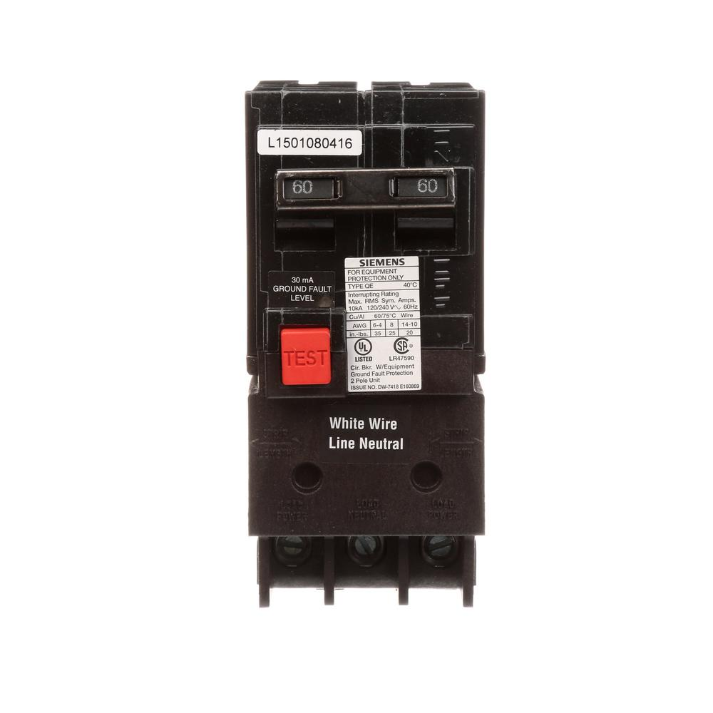 siemens 60 amp double pole type qe ground fault equipment protection60 amp double pole type qe ground fault equipment protection circuit breaker