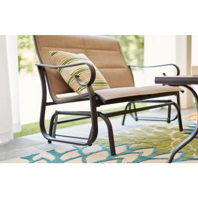 Crestridge Steel Padded Sling Outdoor Patio Glider in Putty Taupe