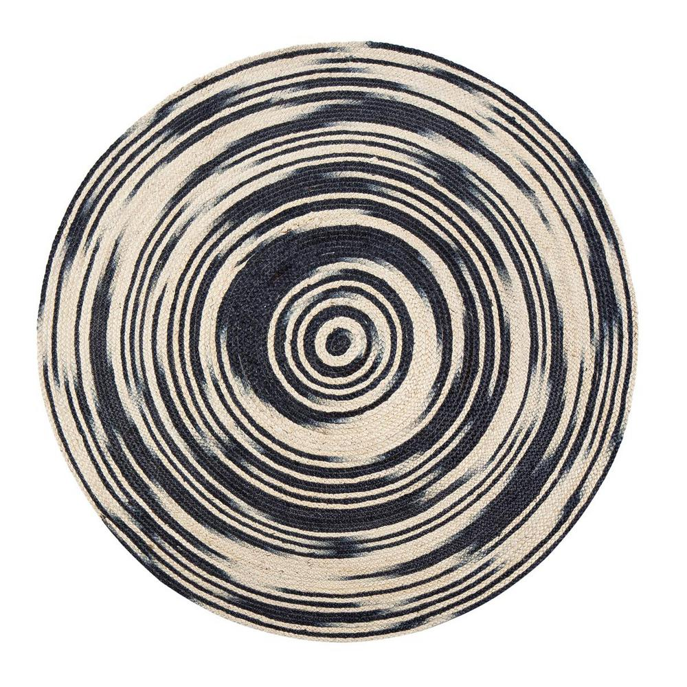 Hurricane Black 6 ft. Round Area Rug