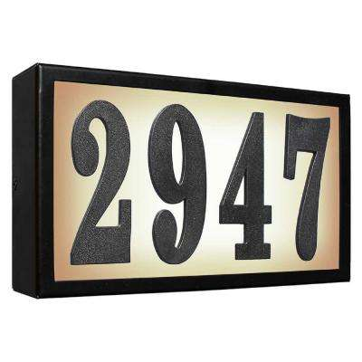 Serrano Standard Galvanized Steel Frame Black Lighted Address Plaque