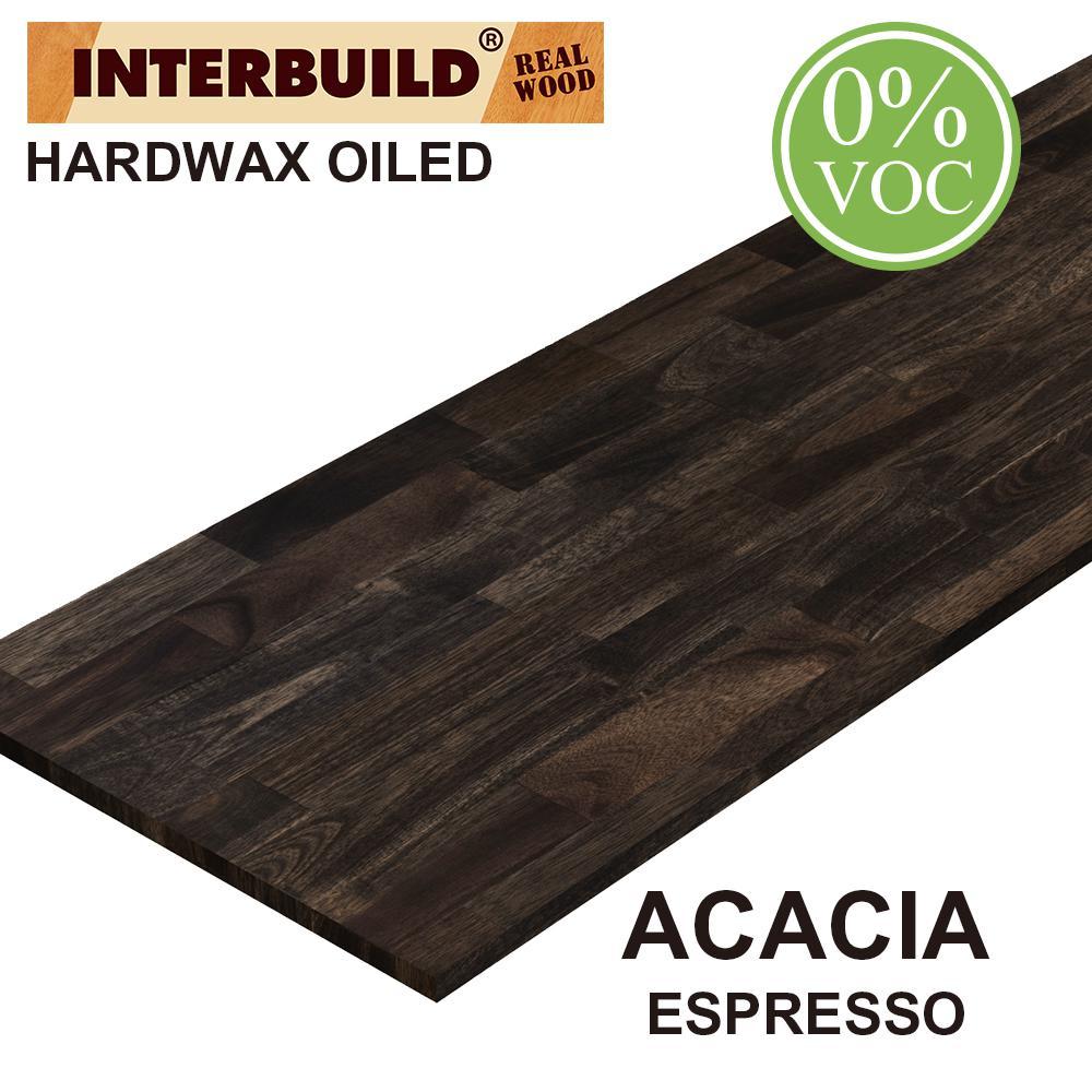 Acacia 6 ft. L x 25 in. D x 1 in. T Butcher Block Countertop in Espresso Stain