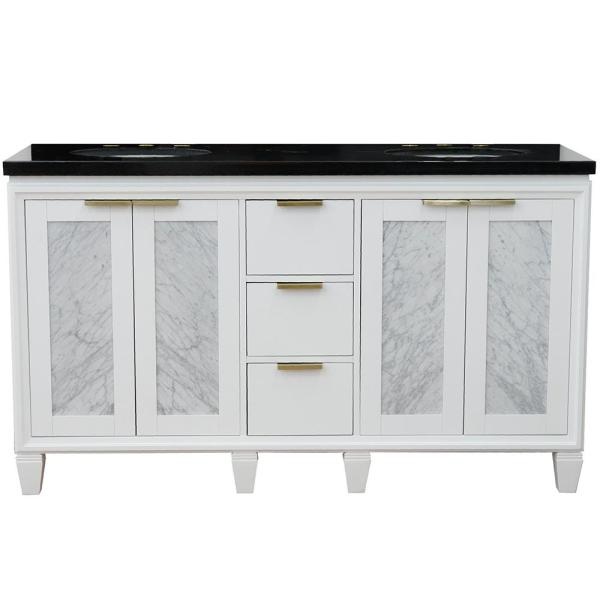 61 in. W x 22 in. D Double Bath Vanity in White with Granite Vanity Top in Black Galaxy with White Oval Basins