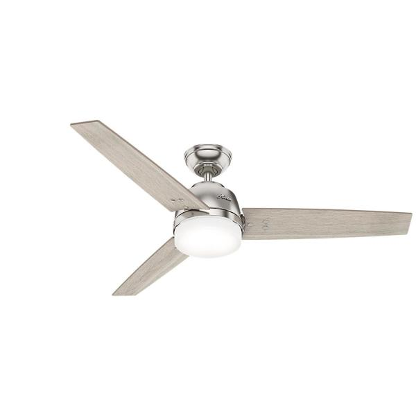 Brasco 52 in. LED Indoor Brushed Nickel Ceiling Fan with Light and Handheld Remote