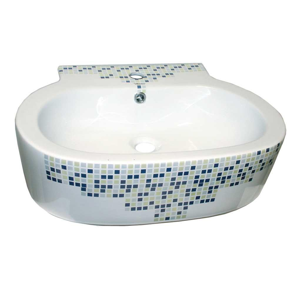Whitehaus Collection Isabella Decorative Oval Wall-Mounted Bathroom Sink in White