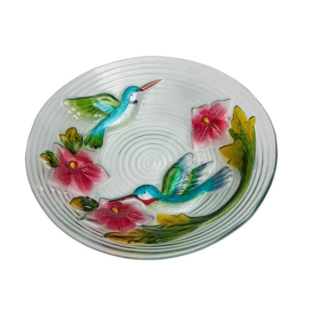 Evergreen Enterprises Hummingbird Couple Glass Birdbath