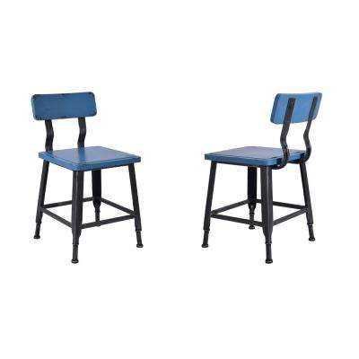6a769548e23b Baylor Silver Brushed Gray with Antique Blue Wood Seat and Back Dining Chair  (Set of