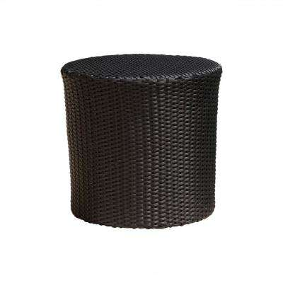 Jalen Black Round Barrel Wicker Outdoor Side Table