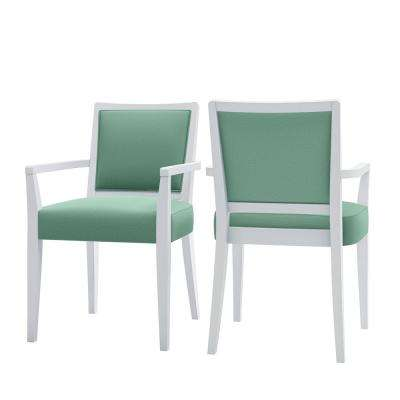 Emelia Upholstered White & Mint Green Fine Polyester Dining Arm Chairs (Set of 2)