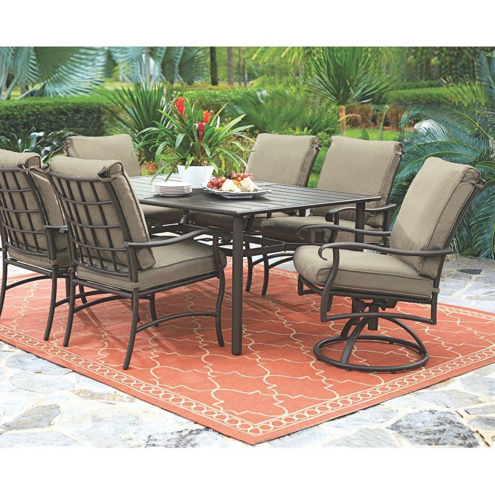 Gabriel Espresso Bronze 7-Piece Patio Dining Set with Beige Cushions