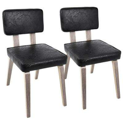Nunzio Mid-Century Faux Leather Light Grey and Black Modern Dining Chair in Wood (Set of 2)