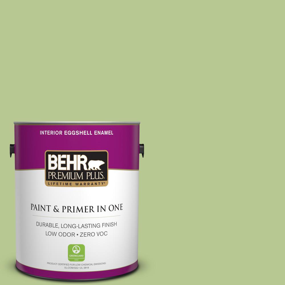 BEHR Premium Plus 1-gal. #420D-4 Marsh Fern Zero VOC Eggshell Enamel Interior Paint
