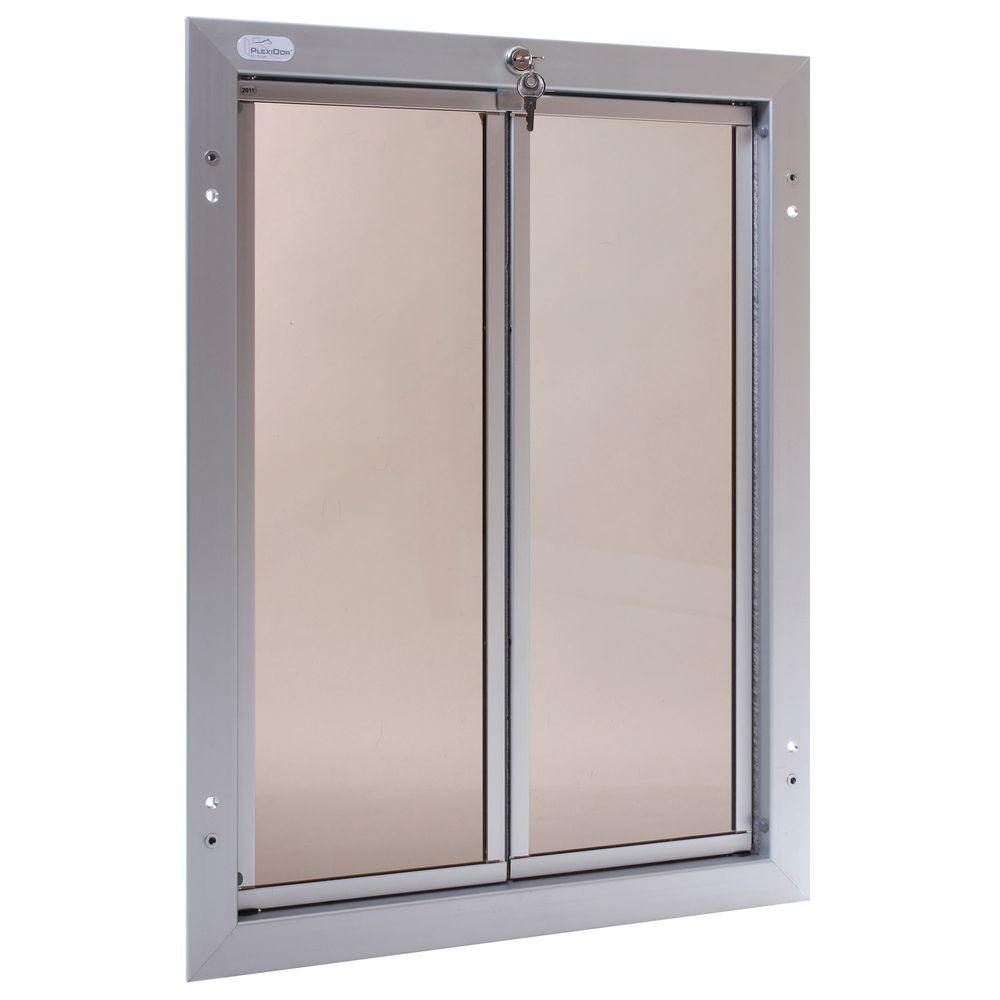 PlexiDor Performance Pet Doors 16 in. x 23.75 in. Chew Proof XLarge Silver Door Mount Dog Door