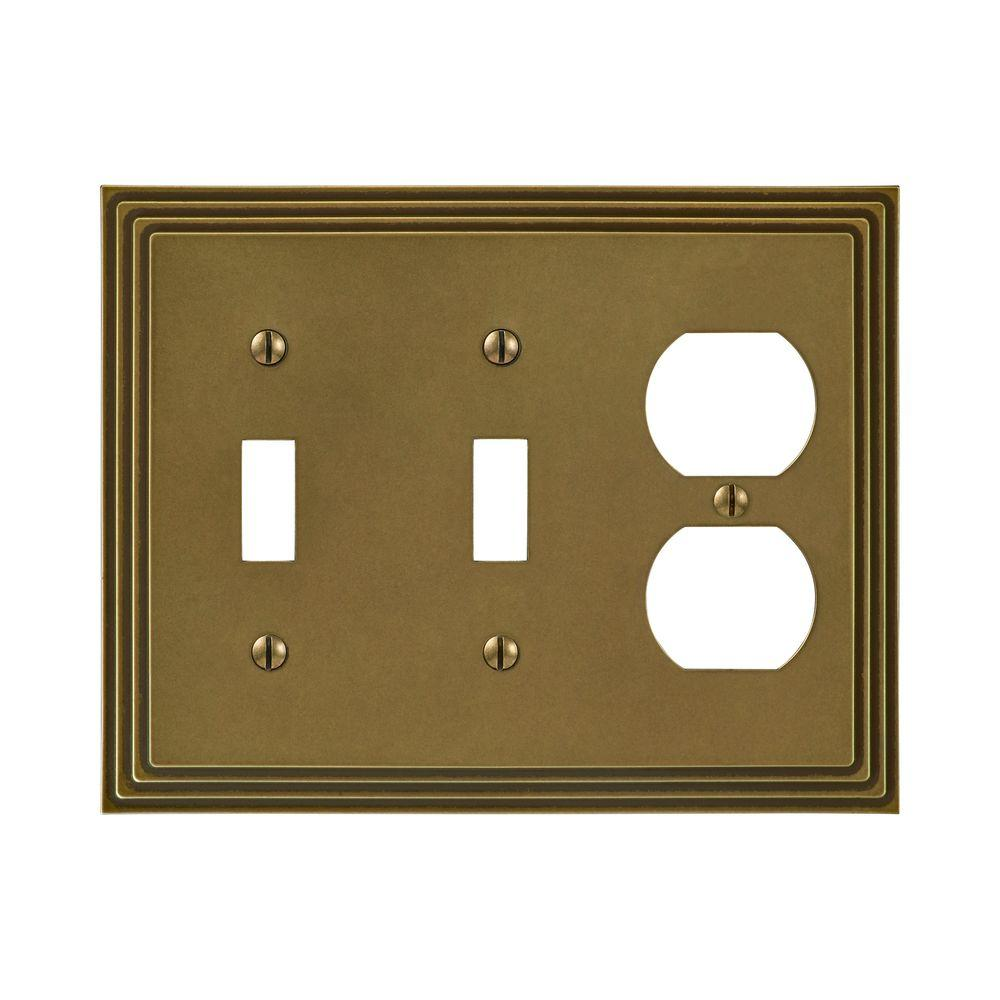 Amerelle Steps 2 Toggle 1 Duplex Wall Plate - Rustic Brass