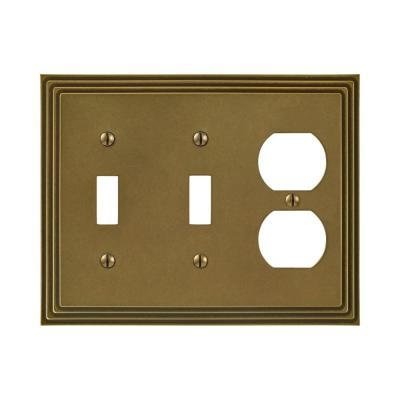 Tiered 3 Gang 2-Toggle and 1-Duplex Metal Wall Plate - Rustic Brass