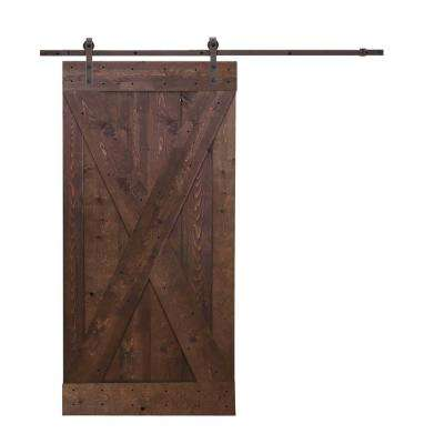 36 in. x 84 in. X-Panel Knotty Pine Finished Wood Barn Door with Sliding Door Hardware Kit
