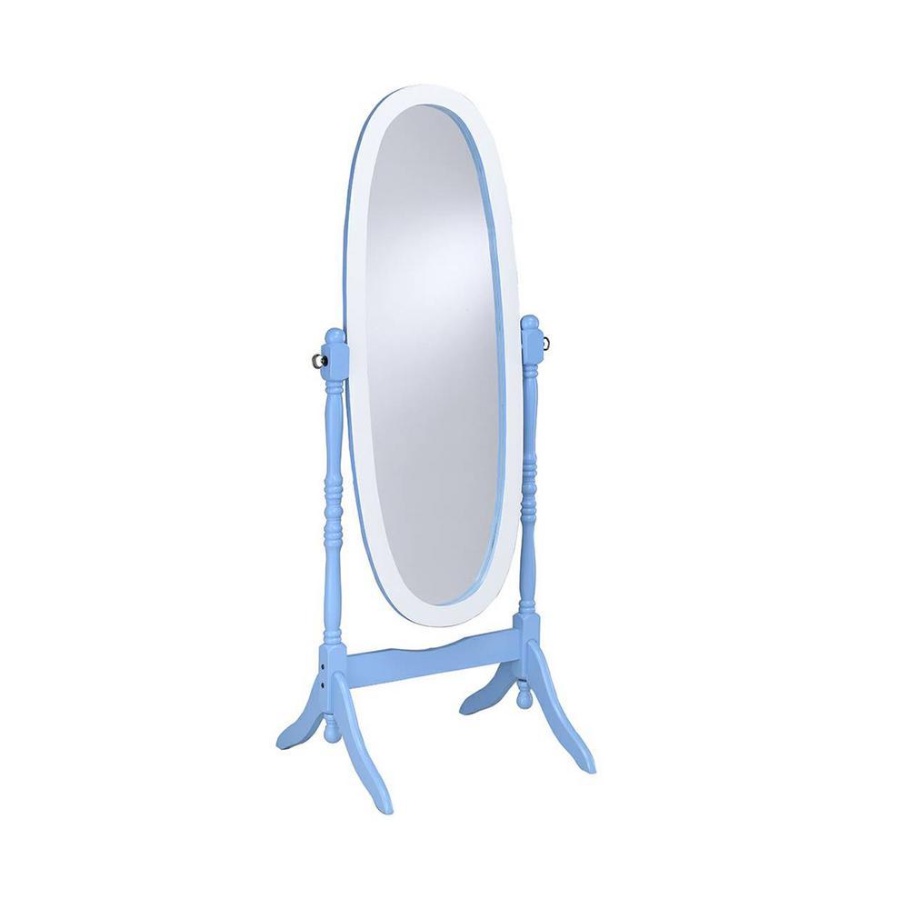 Large Blue Wood Tilting Modern Mirror (59.25 in. H X 21 in. W)