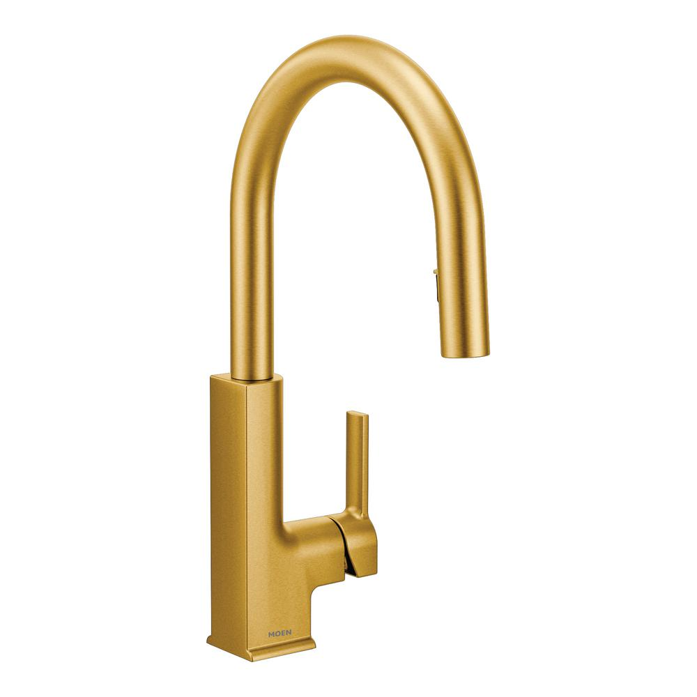 Gold Kitchen Faucet: MOEN Sto Single-Handle Pull-Down Sprayer Kitchen Faucet