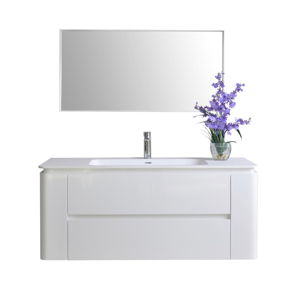Ancerre Designs Gwyneth 48 in. W x 18 in. D Vanity in White with Solid Surface Vanity Top in White with White Basin and Mirror