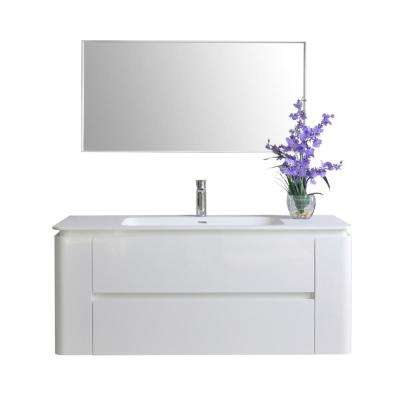 Gwyneth 48 in. W x 18 in. D Vanity in White with Solid Surface Vanity Top in White with White Basin and Mirror