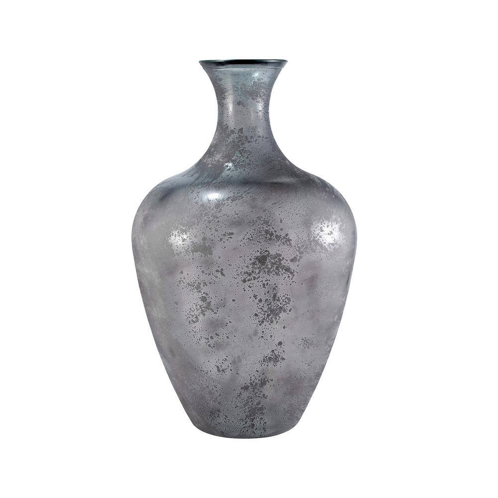 Chloe 26 in. Glass Decorative Vase in Textured Smoke