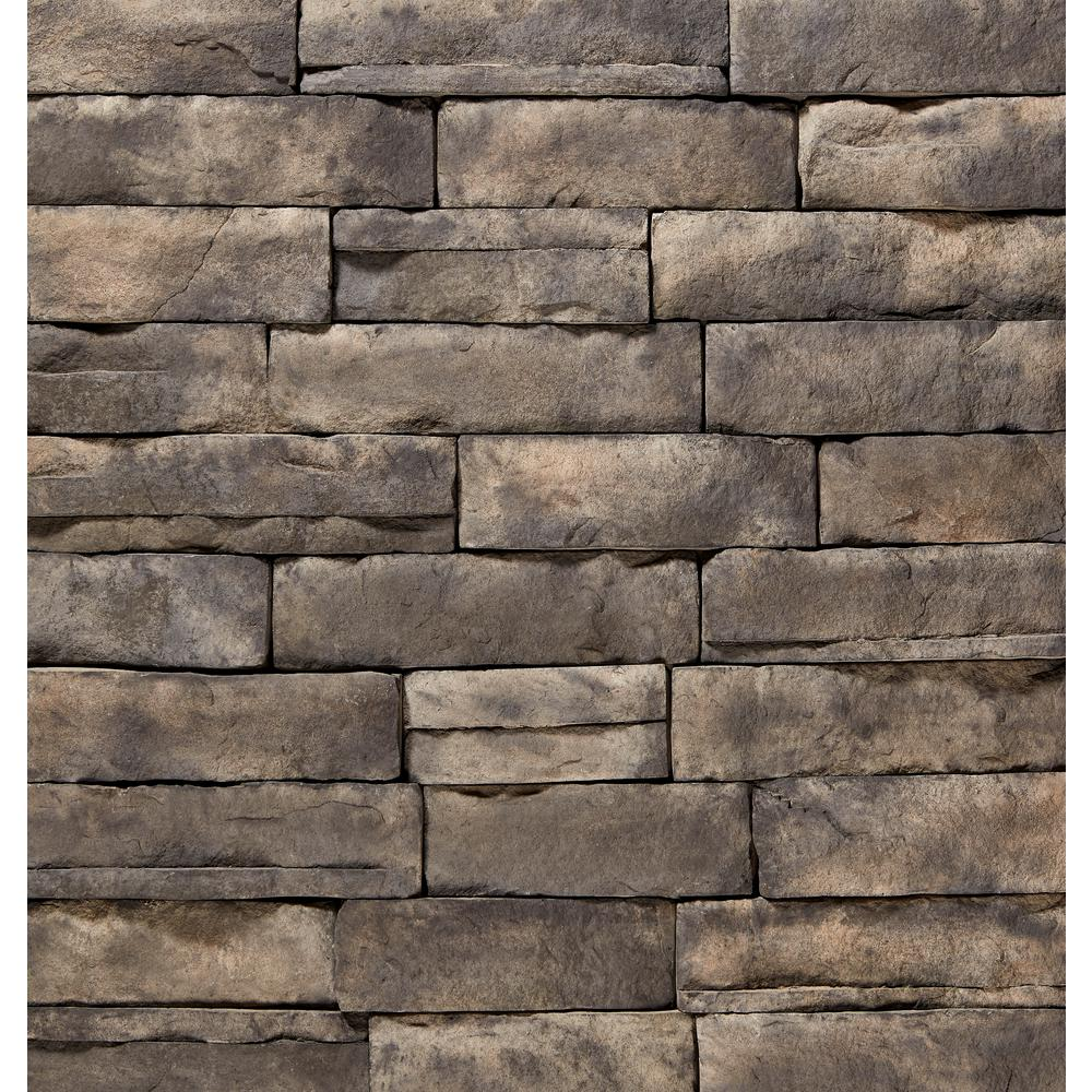 12 in. x 4 in. Manufactured Stone Ledgestone Ash Flat Siding