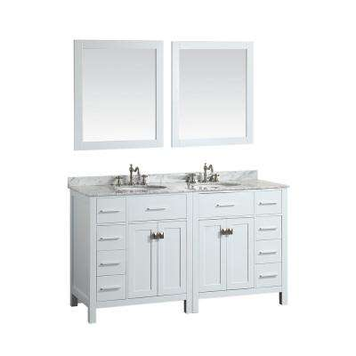 Bosconi 61.4 in. W Double Bath Vanity in White with White Carrara Marble Vanity Top in White with White Basin and Mirror