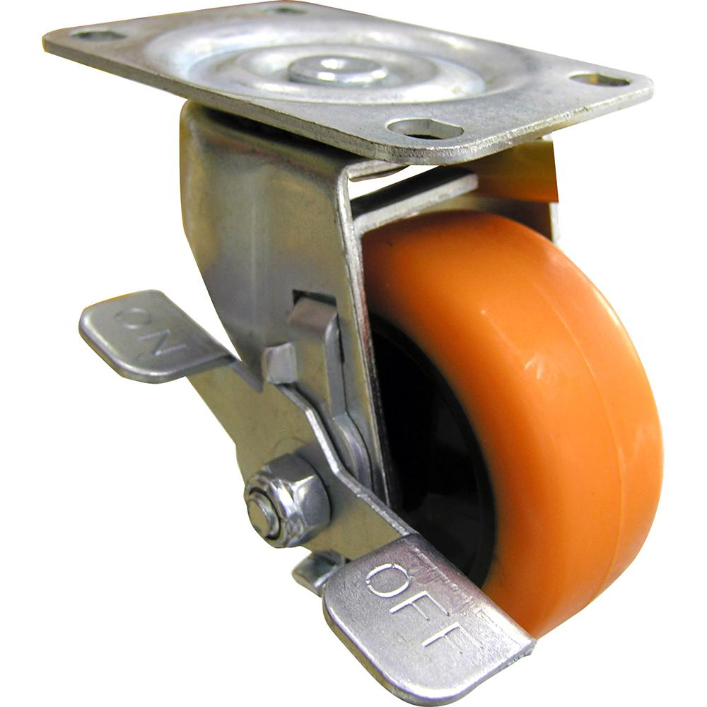 Shepherd 3 in. Orange TPU Swivel Caster with 225 lb. Load Rating and Brake
